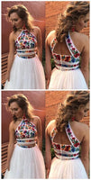 White Satin Embroidery High Neck Open Back Homecoming Dresses cg145