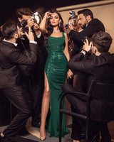 2021 Charming Mermaid Scoop Neck Dark Green Satin Long Prom Evening Dresses with Split   cg14510