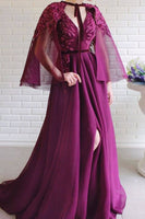 Vintage V Neck Prom Dress Purple Cheap Customed Prom Dress   cg14522