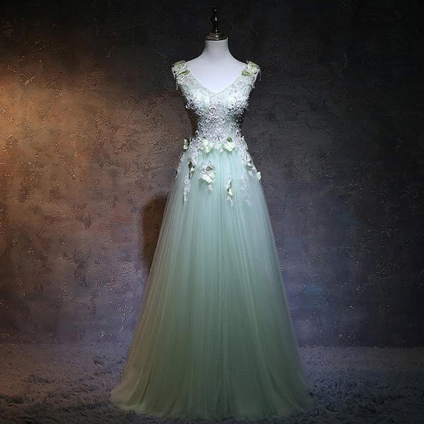 Beautiful Light Green V-Neckline Tulle Party Gown, A-Line Tulle Prom Dress   cg14524