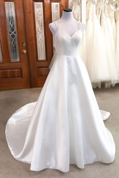 long prom dress Simple white v neck satin long wedding dress white bridal dress    cg14526