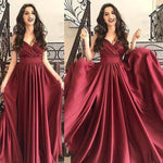 Burgundy Prom Dress,A-Line Prom Gown,Spaghetti Straps Evening Dress,Satin Prom Gown   cg14529