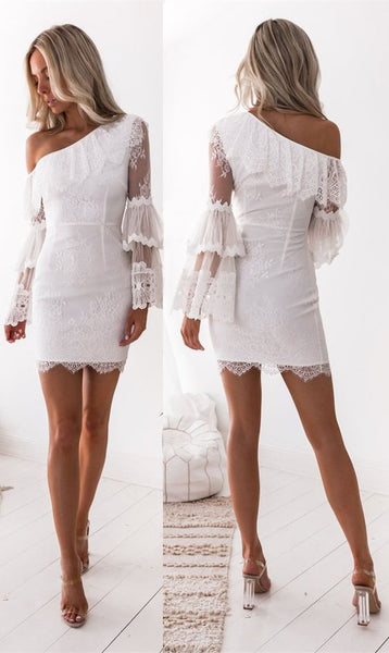 Sheath One Shoulder Long Sleeves White Lace Homecoming Dress with Ruffles cg1452