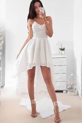 Modern A-Line Spaghetti Straps Criss Cross White High Low Homecoming Dress With Pleats cg1453