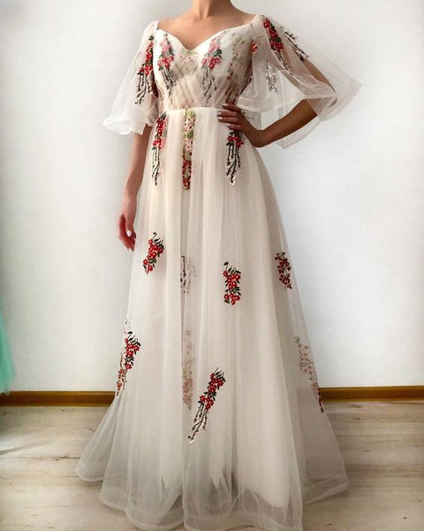Off Shoulder Bell Sleeve Floral Long Prom Dress with Lace Up   cg14543