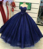 Gorgeous Beading Sweetheart neck Tulle Quinceanera Dresses, Blue Ball Gown Prom Dress   cg14546