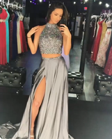 grey 2 piece split prom party dress with beaded   cg14550