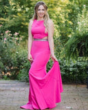 Jewel Neck Fuchsia Cutout Mermaid Satin Prom Dress with Beading Belt   cg14553