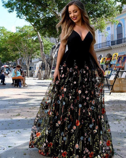 V-neck Black Satin A-line Prom Dress with Floral Lace Skirt    cg14556