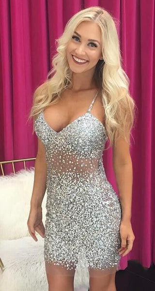 Sexy Spaghetti Straps homecoming Dress, Crystal Beading Dresses, Tulle Short Party Dress  cg1455