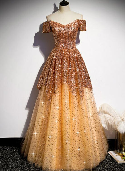 Gorgeous Gold Sequins Long Formal Gown, A-Line Golden Tulle Prom Dress   cg14564