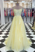 Yellow tulle lace long prom dress yellow lace formal dress   cg14565