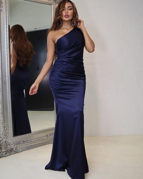 Simple Navy Blue Ruched Satin One Shoulder Prom Dress   cg13568