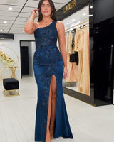 One Shoulder Navy Blue Applique Mermaid Prom Dress with Side  cg13571
