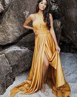 Criss Cross Satin Wax Yellow Simple Prom Dress with Side Slit cg13572