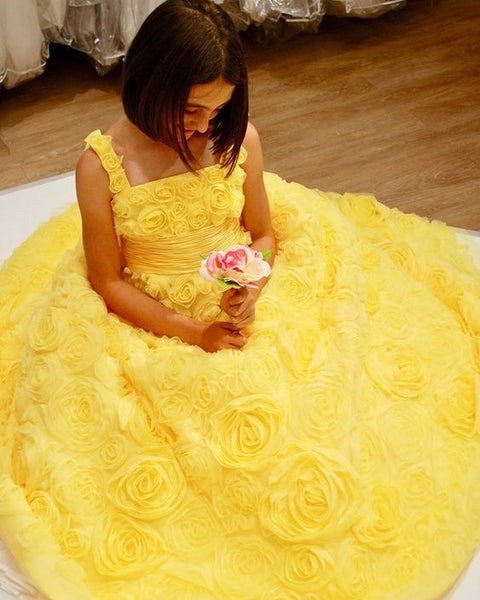 Yellow 3D Flower Lace Square Neckline Prom Dress   cg13574