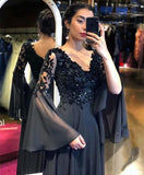 Long Puffy Sleeve Prom Dresses A Line Evening Formal Gown,   cg14584