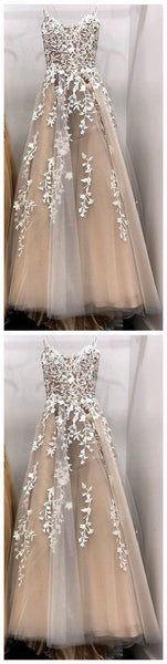 Elegant Spaghetti Tulle Appliques Prom Dresses Formal Evening Gowns  cg14591