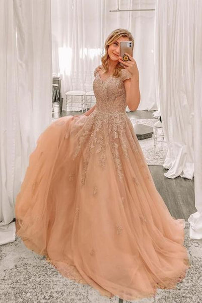 Gorgeous Champagne Long Prom Gown with Cap Sleeves    cg14598