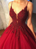Beaded V Neck Burgundy Prom Dress with Lace Flowers, Burgundy Formal Gown   cg14600