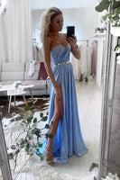 Sweetheart A Line Chiffon Blue Simple Prom Dresses With Slit   cg14603