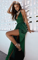 Sexy Emerald Green Prom Dress, Satin Prom Gown Evening Dress, V-neck Prom Dresses   cg14604