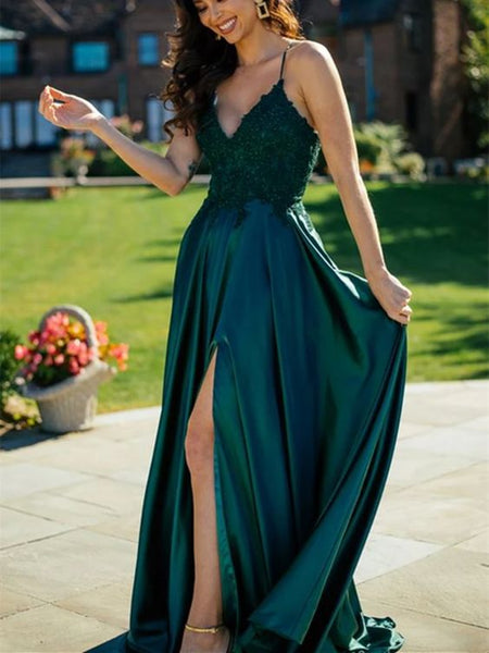 A Line V Neck Dark Green Lace Top Long Prom Dresses with Slit, Dark Green Lace Formal Graduation Evening Dresses   cg14605