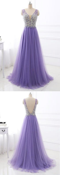 Lavender Tulle A-line Sparkly Beading Top Prom Dress    cg14613