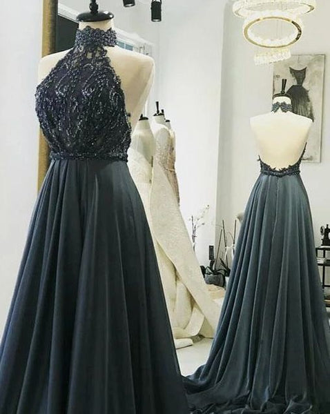 Sexy Sleeveless Halter Open Back Long Prom Dresses, Evening Party Gown    cg14615