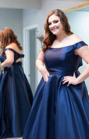 Plus Size Off Shoulder Navy Blue Long Prom Dress   cg14616
