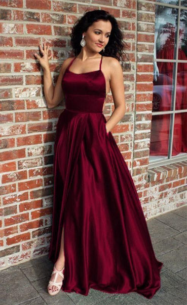 burgundy prom dresses long satin split gown    cg14622