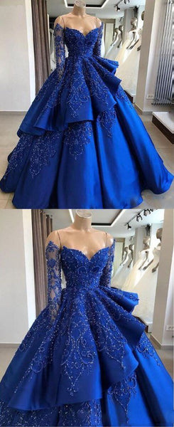 Delicate Sparkly Beading Ball Gown Satin Royal Blue Prom Dress with Sleeves Quinceanera Dress   cg14627