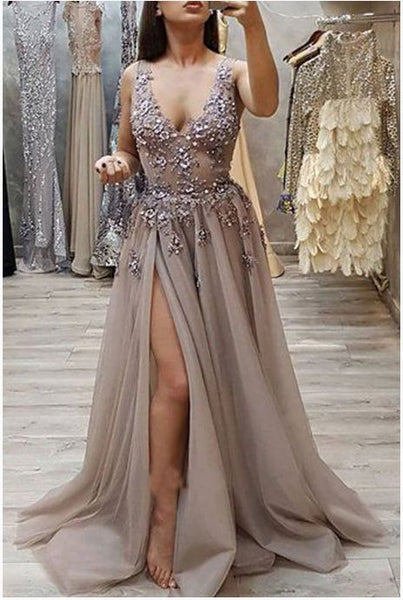 Charming A Line V Neck Open Back High Split Grey Lace Long Beads Long Prom Dresses   cg14629