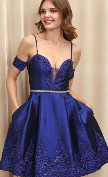 A Line Spaghetti Straps Royal Blue Homecoming Dress With Appliques cg1463