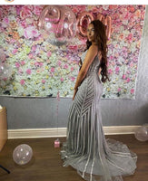 Silver Gray Prom Dresses 2021 Elegant Prom Dress With Beads   cg14633