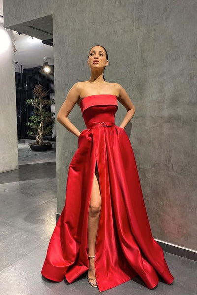 SIMPLE RED SATIN LONG PROM DRESS RED EVENING DRESS   cg14642