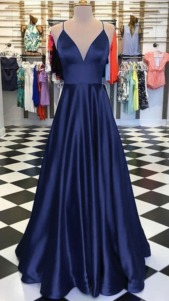 A-Line Long Satin V-Neck Prom Dresses Formal Evening Gowns   cg14645