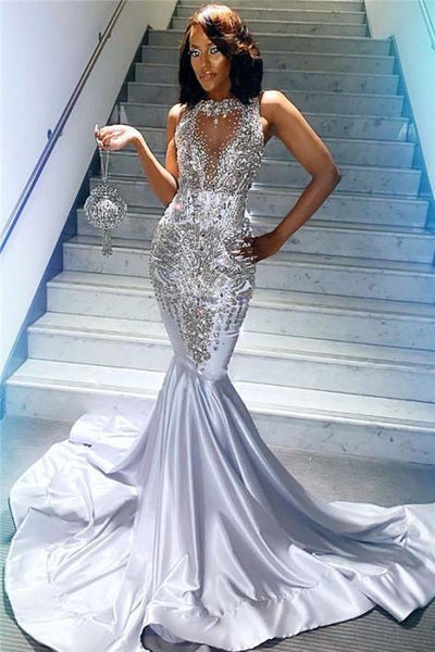 Black Girl Prom Dress Silver Beads Sequins Sexy Prom Dresses Cheap | Sleeveless Crystals Mermaid Evening Gowns    cg14651