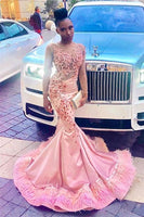 Black Girl Prom Dress Sheer Tulle Pink Mermaid Prom Dresses with Feather | Crystals Appliques Sexy Evening Gowns with Sleeves   cg14652