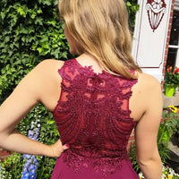 Charming O-Neck A-line Prom Dresses,Long Prom Dresses,Cheap Prom Dresses   cg14658