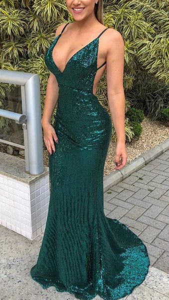 Mermaid Deep V Neck Sweep Train Green Prom Dress With Sequins  cg1465