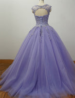 Gorgeous Cap Sleeves Lavender Ball Gown Quinceanera Dresses lace Appliqued ,Beading Bling Bling Sweet 16 dress, Debutante Gown,prom dresses   cg14660