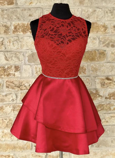 Red lace satin short dress homecoming dress   cg14661
