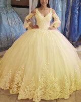 Yellow ball gown quinceanera dress Prom Dresses   cg14662