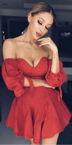 A-Line Red Satin Off the Shoulder Puff Sleeve Homecoming Dress  cg1467