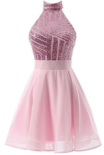 Short a line halter homecoming dresses cheap. Mini sparkly backless homecoming dress. cg1468