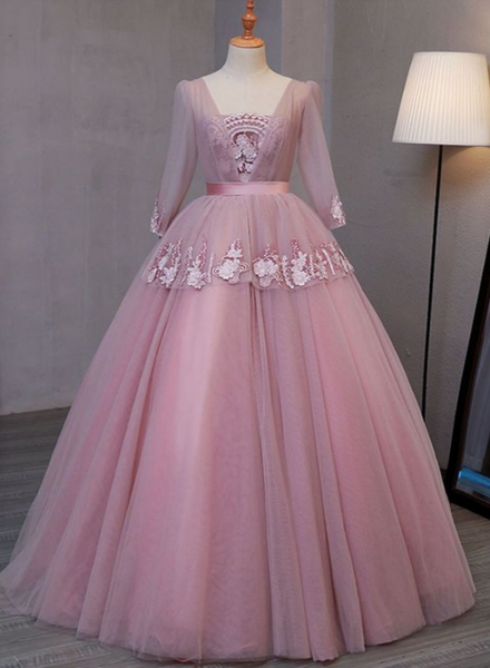 Dark Pink V-Neckline Ball Gown Lace Applique Sweet 16 Dress, Pink Prom Dress Party Dress  cg14691
