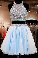 Two Piece A-line Halter Organza Beaded Short Light Blue Homecoming Dress cg146