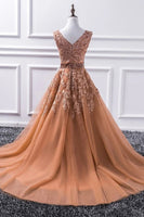 Gorgeous V Neck Champagne Lace Long Prom Dress, Champagne Lace Formal Graduation Evening Dress   cg14702