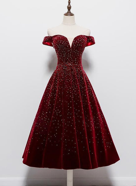 Beautiful Wine Red Tea Length Sweetheart Party Dress, Velvet Bridesmaid Dress Prom Dress   cg14714